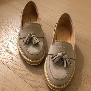 Women's suede loafers in a grey color